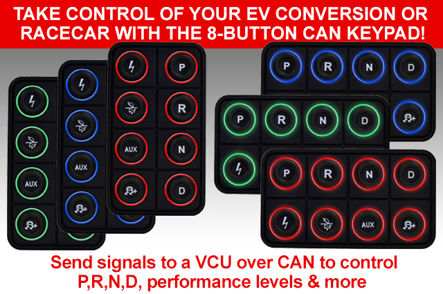 Take control of your EV conversion or racecar with the 8-button can keypad